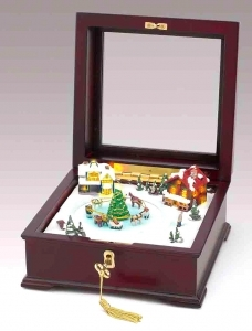 Mr Christmas animated music box : animated music box made of wood and polystone