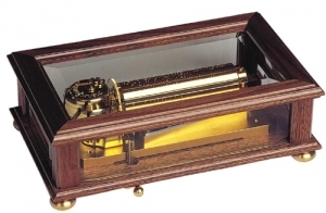 Transparent music box made of wood and glass with traditional 50 note spring musical mechanism - Item # for this transparent swiss music box : 2049101