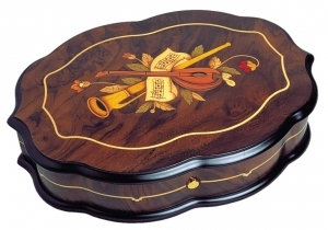 Swiss music box made of wood with traditional 50 note musical mechanism - Item # for this swiss music box : 2063301
