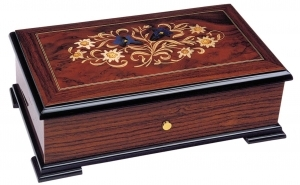 Swiss music box made of wood with traditional 50 note musical mechanism - Item # for this swiss music box : 2058801