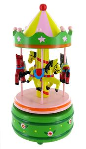 Miniature musical carousel made of wood with traditional 18 note musical mechanism - Item # for this miniature musical carousel : 43739