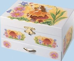 Trousselier musical jewelry box with dancing fairy and traditional 18 note musical mechanism - Item # for this Trousselier musical jewelry box with dancing fairy: 22048-GREENSLEEVES