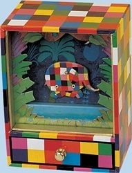Elmer the patchwork elephant music box made by Trousselier with traditional 18 note musical mechanism - Item # for this Trousselier music box with moving Elmer : 93-064