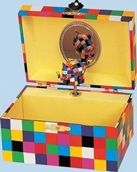 Elmer the patchwork elephant music box made by Trousselier with traditional 18 note musical mechanism - Item # for this Trousselier music box with dancing Elmer : 91-064