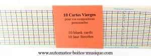 A set of 10 blank music cards for the 20 note Little Componium.
