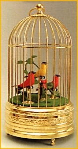 Mechanical singing birds automatons in a golden cage made of metal - Item# for these mechanical singing birds automatons : OC-105