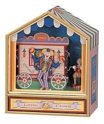 Trousselier music box made of wood with clowns and traditional 18 note musical mechanism - Item # for this Trousselier  music box : 64-064