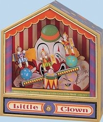 Trousselier music box made of wood with clowns and traditional 18 note musical mechanism - Item # for this Trousselier  music box : 64-066