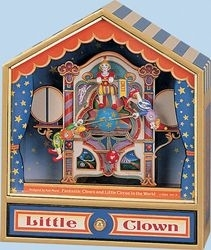 Trousselier music box made of wood with clowns and traditional 18 note musical mechanism - Item # for this Trousselier  music box : 64-065