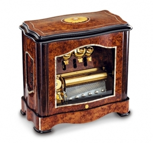 Reuge music box made of wood with traditional swiss 72 note musical mechanism - Item # for this Reuge music box : AXA.72.6018.002