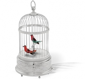 Reuge mechanical singing birds automatons in a rhodium-plated cage - Item# for these Reuge mechanical singing birds automatons in cage : AXO.90.7008.002