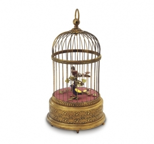Reuge mechanical singing birds automatons in an antique cage - Item# for these Reuge mechanical singing birds automatons in cage : AXO.90.7005.0A2