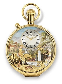 Reuge musical pocket watch with one automaton and a traditional 17 note miniature musical mechanism - Item# for this Reuge musical pocket watch with 1 automaton : CXH.17.4100.000