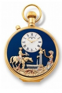 Reuge musical pocket watch with one automaton and a traditional 17 note miniature musical mechanism - Item# for this Reuge musical pocket watch : CXH.17.4101.000
