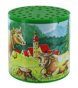 Famous moo box or cow box: moo box made of plastic with a cow picture label - Item # for this moo box : MEUH