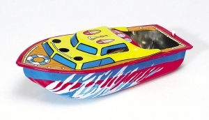 Collectable tin toy pop pop boat made of steel with 2 candles, 1 plastic tube and instructions - Item # for this collectable tin toy pop pop boat : MF 418