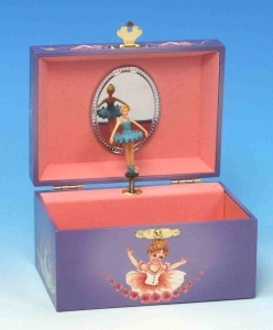 Musical jewelry box made of wood with dancing ballerina and traditional 18 note musical mechanism - Item # for this musical jewelry box : 22014