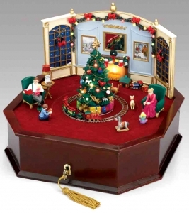 Christmas animated music box made of wood and polystone with ...