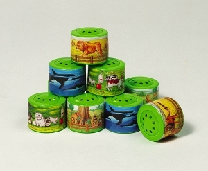 Set of 5 animal sound boxes made of plastic with batteries included - Item # for this set of 5 animal sound boxes : 15039