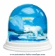 Traditional non-musical snow globe made of plastic without any 18 note musical mechanism - Item # for this non-musical snow globe made in Germany : 3902024