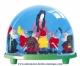 Traditional non-musical snow globe made of plastic without any 18 note musical mechanism - Item # for this non-musical snow globe made in Germany : 3726