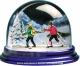 Traditional non-musical snow globe made of plastic without any 18 note musical mechanism - Item # for this non-musical snow globe made in Germany : 3902013