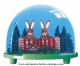Traditional non-musical snow globe made of plastic without any 18 note musical mechanism - Item # for this non-musical snow globe made in Germany: 2985