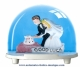 Traditional non-musical snow globe made of plastic without any 18 note musical mechanism - Item # for this non-musical snow globe made in Germany: 2966