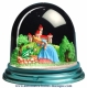 Traditional non-musical snow globe made of plastic without any 18 note musical mechanism - Item # for this non-musical snow globe made in Germany : 342103