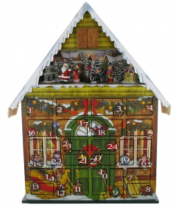 Musical Advent Calendar made of wood covered with reinforced printed paper, with traditional 18 note musical mechanism - Item# for this musical Advent Calendar : 45075
