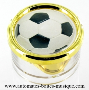 Soccer team paperweight music box made of plexiglas with traditional 18 note musical mechanism - Item# for this soccer team paperweight music box : PL.18.02