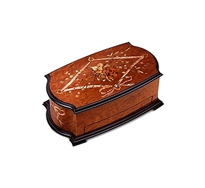 Reuge music box made of wood with traditional swiss 72 note musical mechanism - Item # for this Reuge music box : AXA.72.8244.000