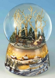 Musical snow globe made of resin with traditional 18 note spring musical mechanism - Item # for this musical snow globe: 46071