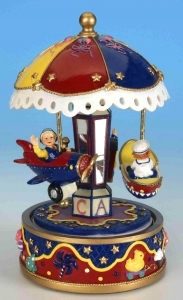 Miniature musical carousel made of resin with traditional 18 note musical mechanism - Item # for this miniature musical carousel : 14064