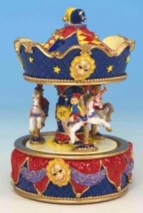 Miniature musical carousel made of resin with traditional 18 note musical mechanism - Item # for this miniature musical carousel : 14073