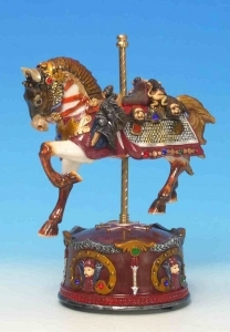 Animated musical automaton horse made of resin with traditional 18 note musical mechanism - Item # for this musical automaton horse : 14029