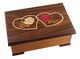 Music box made of solid wood (walnut, maple wood, cherry wood, pear wood…) with traditional inlay : two hearts. French manufacture.