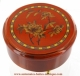 Economical musical jewelry box with transfer printings : round musical jewelry box with flowers.
