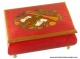 Jewellery music box made of inlaid wood : red jewellery music box with shiny finish and inlaid musical instruments.