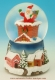 "Christmas musical snow globe made of polystone : musical snow globe ""Santa Claus coming off a fireplace""."