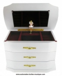 Musical jewelry box made of wood with dancing ballerina and traditional 18 note musical mechanism - Item # for this musical jewelry box : 25120 bis-ROSE