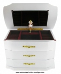 Musical jewelry box made of wood with dancing ballerina and traditional 18 note musical mechanism - Item # for this musical jewelry box : 25120 bis-AMELIE