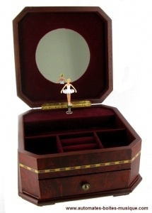 Musical jewelry box made of wood with dancing ballerina and