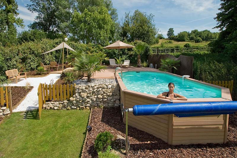 Piscine zodiac original azteck mixte 4mx10m50x1m40 hors sol for Piscine hors sol composite