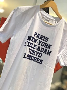 "T-SHIRT BLANC ""PARIS, NY..."" VELOURS MARINE XL"