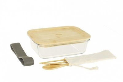 LUNCH BOX NOMADE VERRE/BAMBOU & COUVERTS 1L