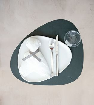 SET TABLE MAT CURVE L 37X44CM NUPO DARK GREEN