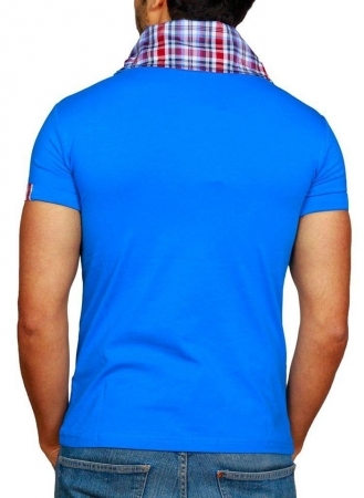 Tee-Shirt homme fashion bleu col carreau