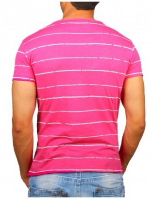 T-shirt homme rose  col profond 001