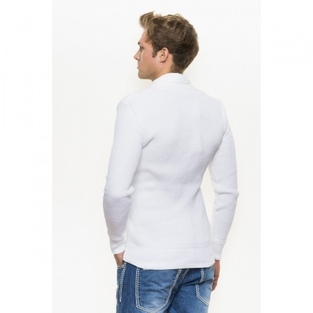 Pull homme moulant blanc 3955
